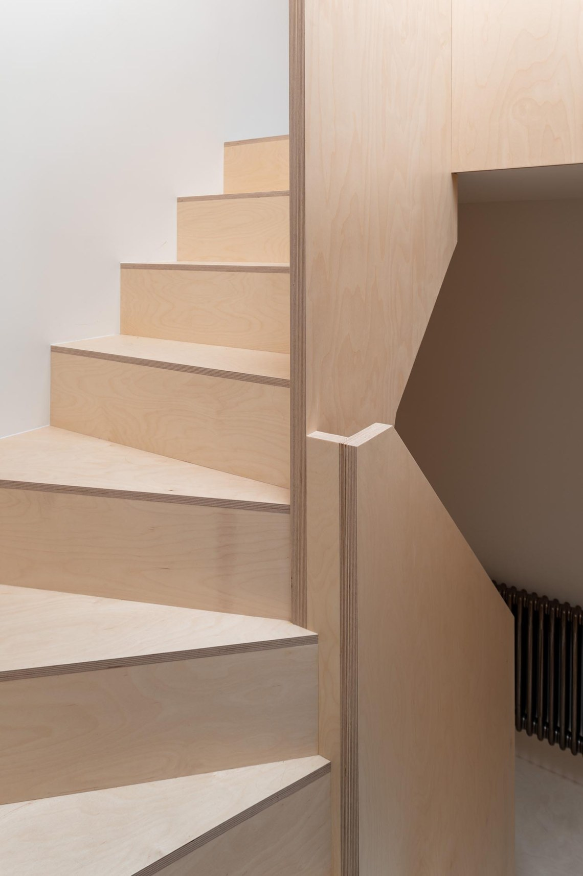 BVDS Architects Two and a half story house staircase hallway solid ply balustrade handrail steps